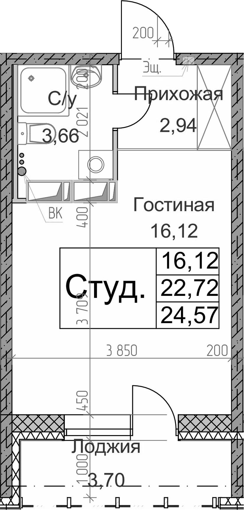 Студия, 24.57 м², 7 этаж