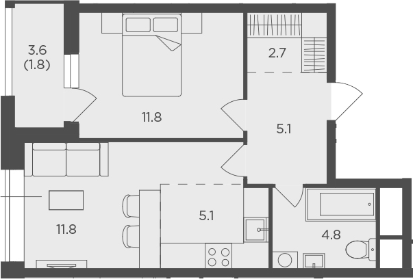 2Е-к.кв, 42.99 м²