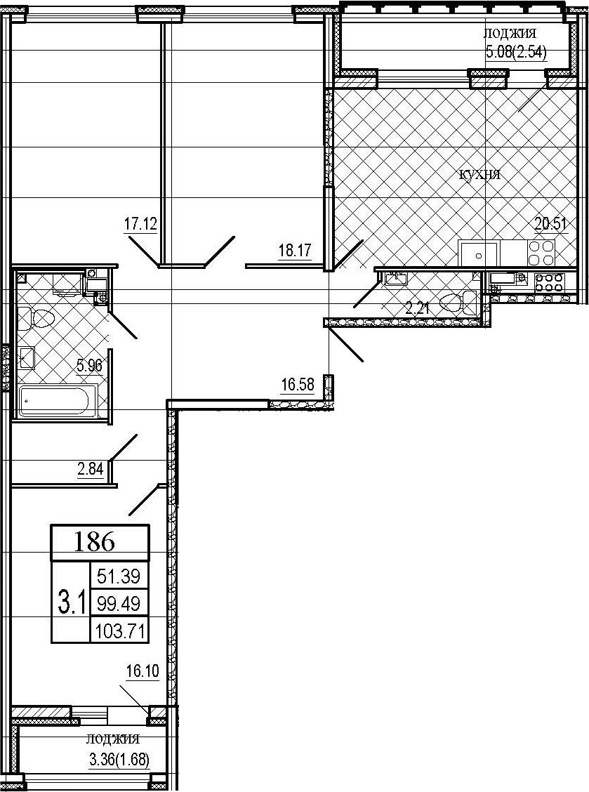 4Е-к.кв, 103.71 м², 7 этаж