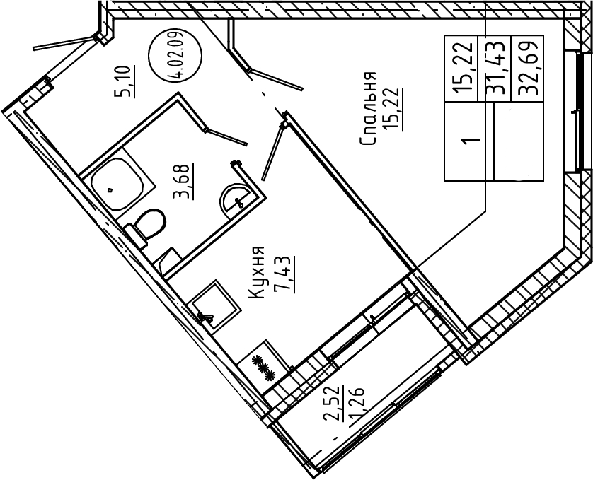 1-к.кв, 32.69 м²