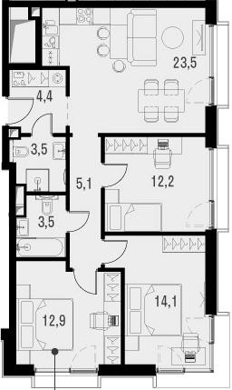 4Е-к.кв, 79.2 м², от 19 этажа