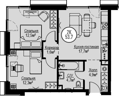 3Е-комнатная, 53.7 м²– 2