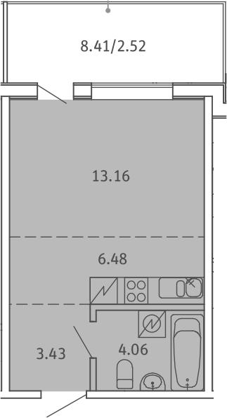 Студия, 29.65 м², 5 этаж