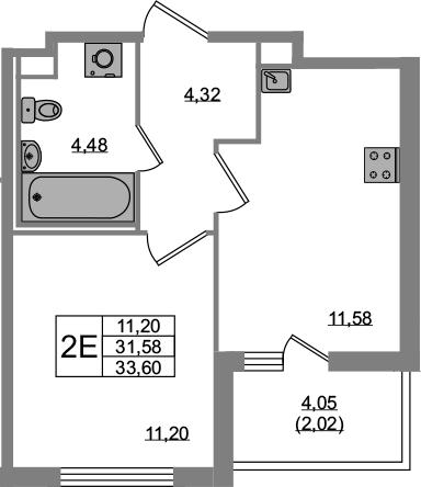 2Е-к.кв, 31.58 м²