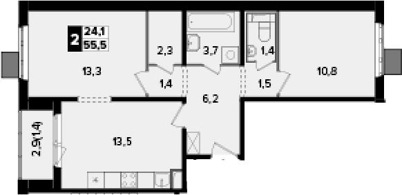 2-к.кв, 55.5 м², от 13 этажа
