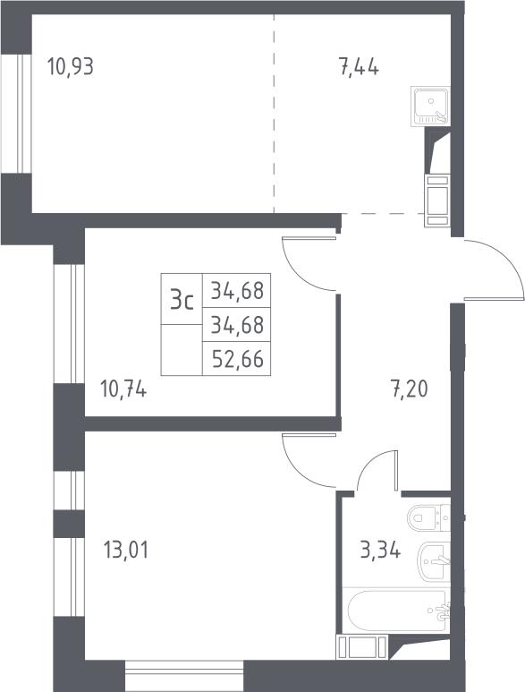 3Е-к.кв, 52.66 м², 14 этаж