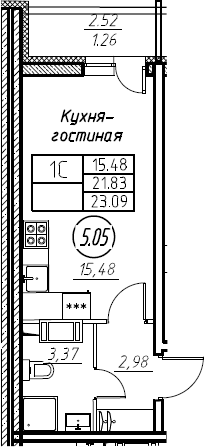 Студия, 23.09 м²