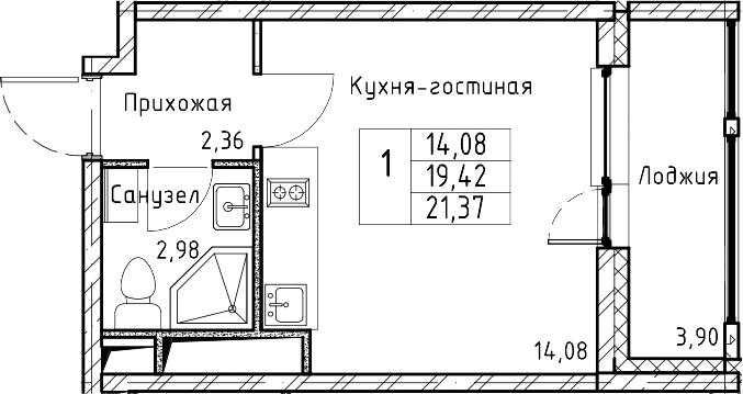 Студия, 21.37 м², 11 этаж