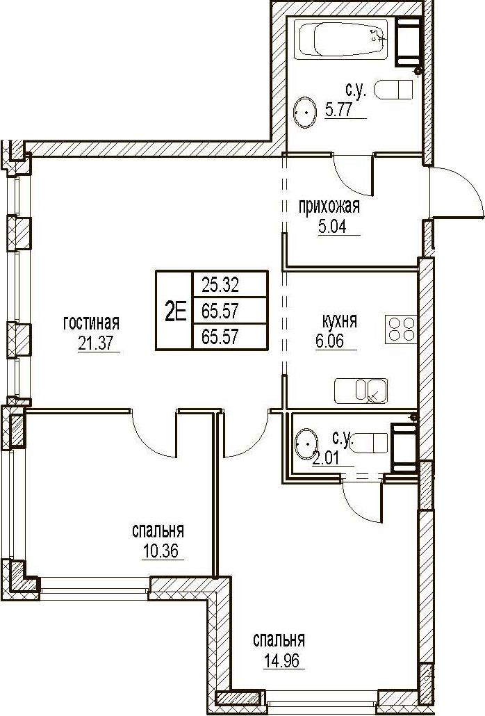 3Е-комнатная, 65.57 м²– 2