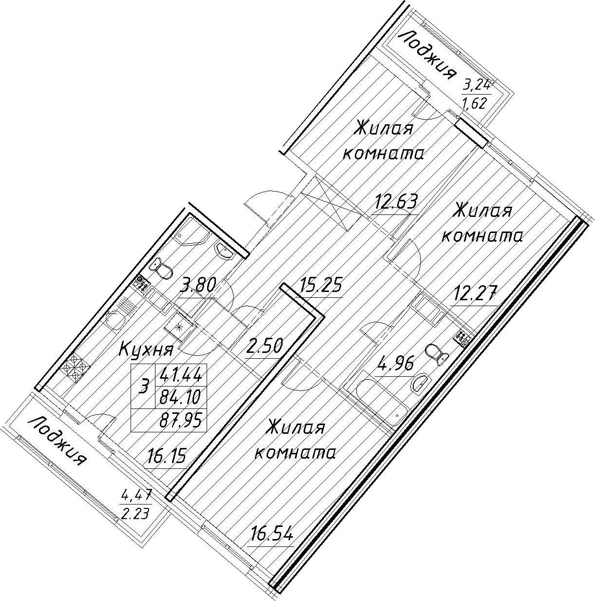 3-к.кв, 87.95 м²