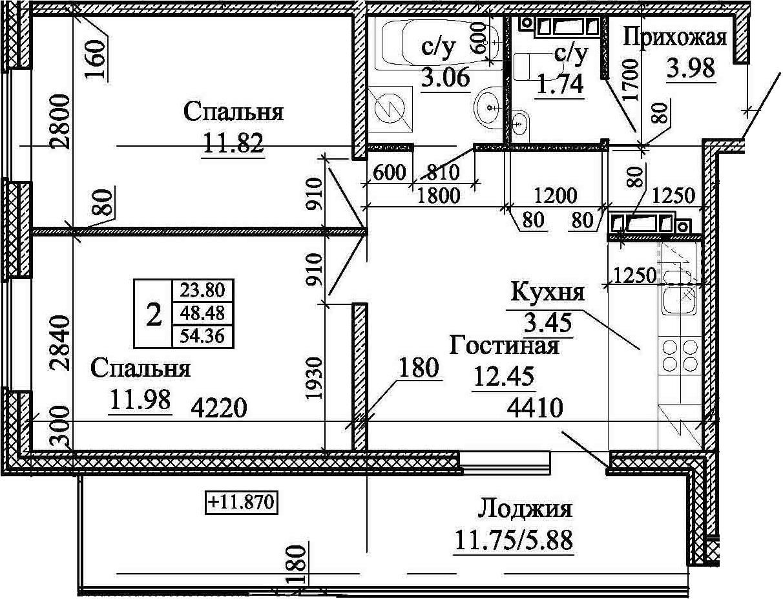 3Е-к.кв, 54.36 м²