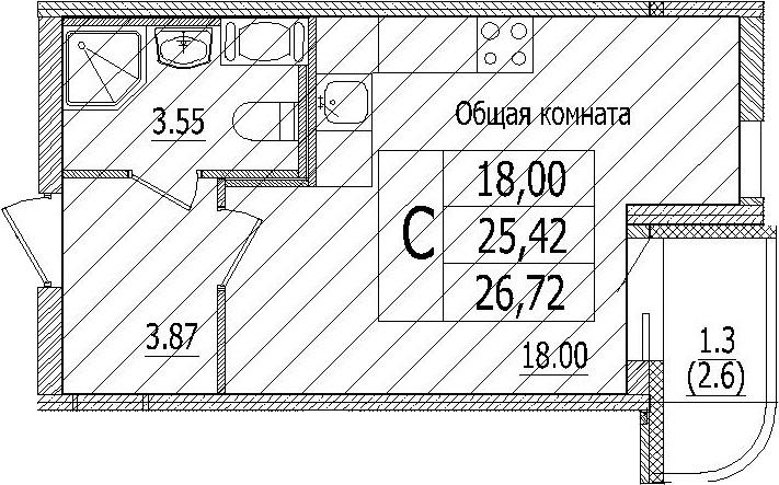 Студия, 28.02 м²