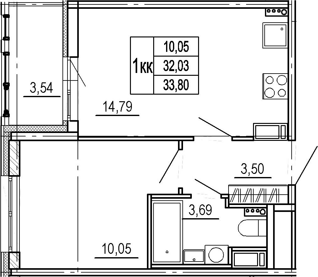 2Е-комнатная, 32.03 м²– 2