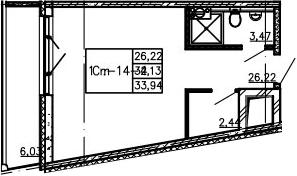 Студия, 33.94 м²– 2