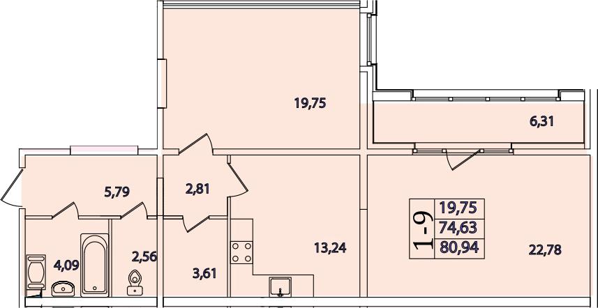 1-комнатная, 80.94 м²– 2