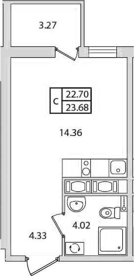 Студия, 23.68 м²– 2