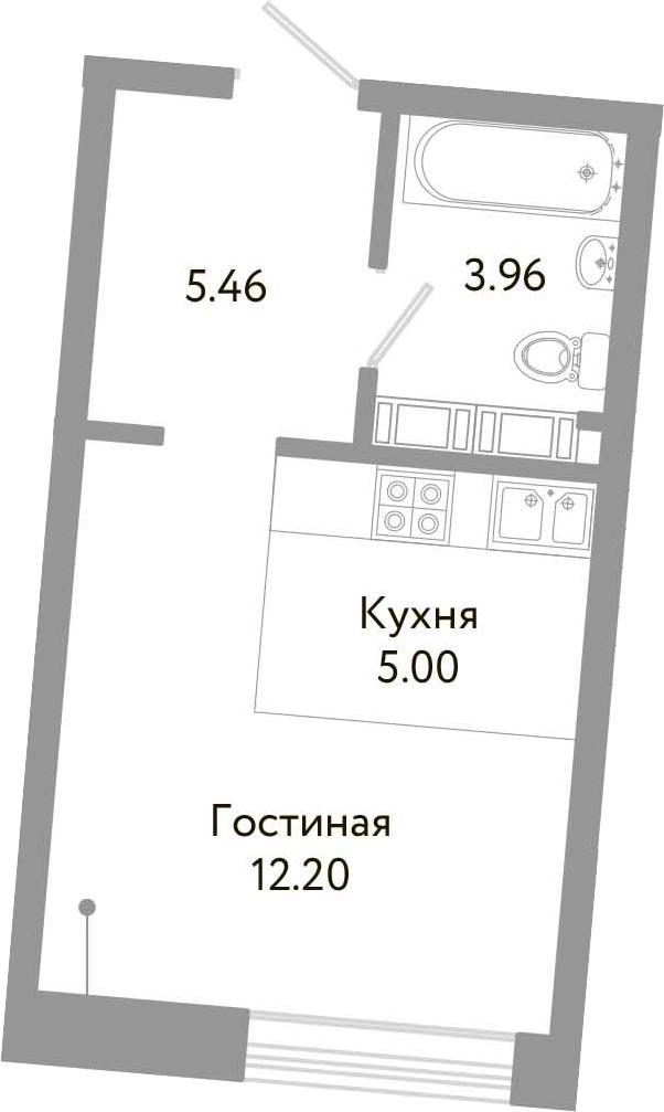 Студия, 26.62 м², от 6 этажа