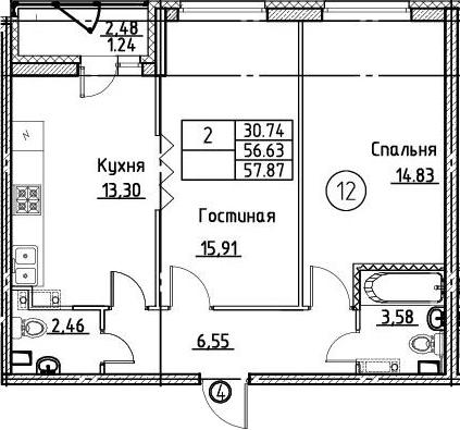 2-к.кв, 57.87 м²