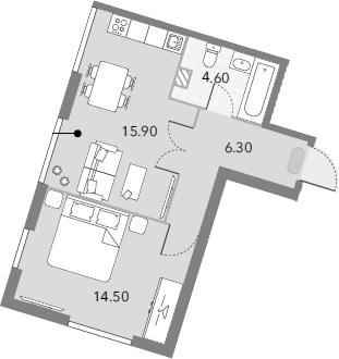 1-к.кв, 41.3 м²