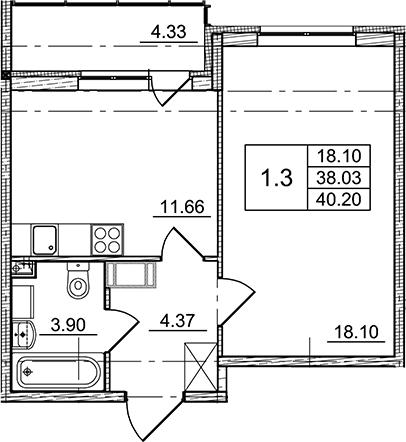 1-к.кв, 38.03 м², от 4 этажа