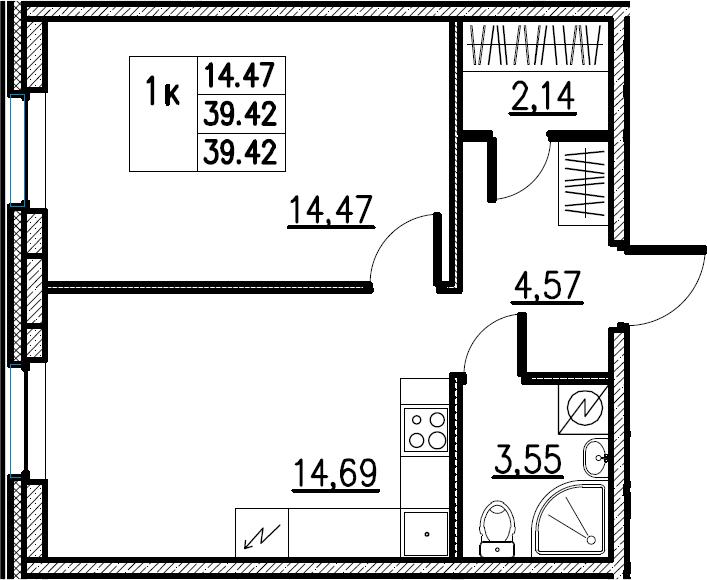 2Е-комнатная, 39.42 м²– 2