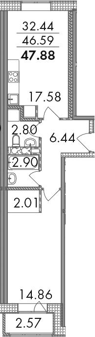 2-к.кв (евро), 49.16 м²