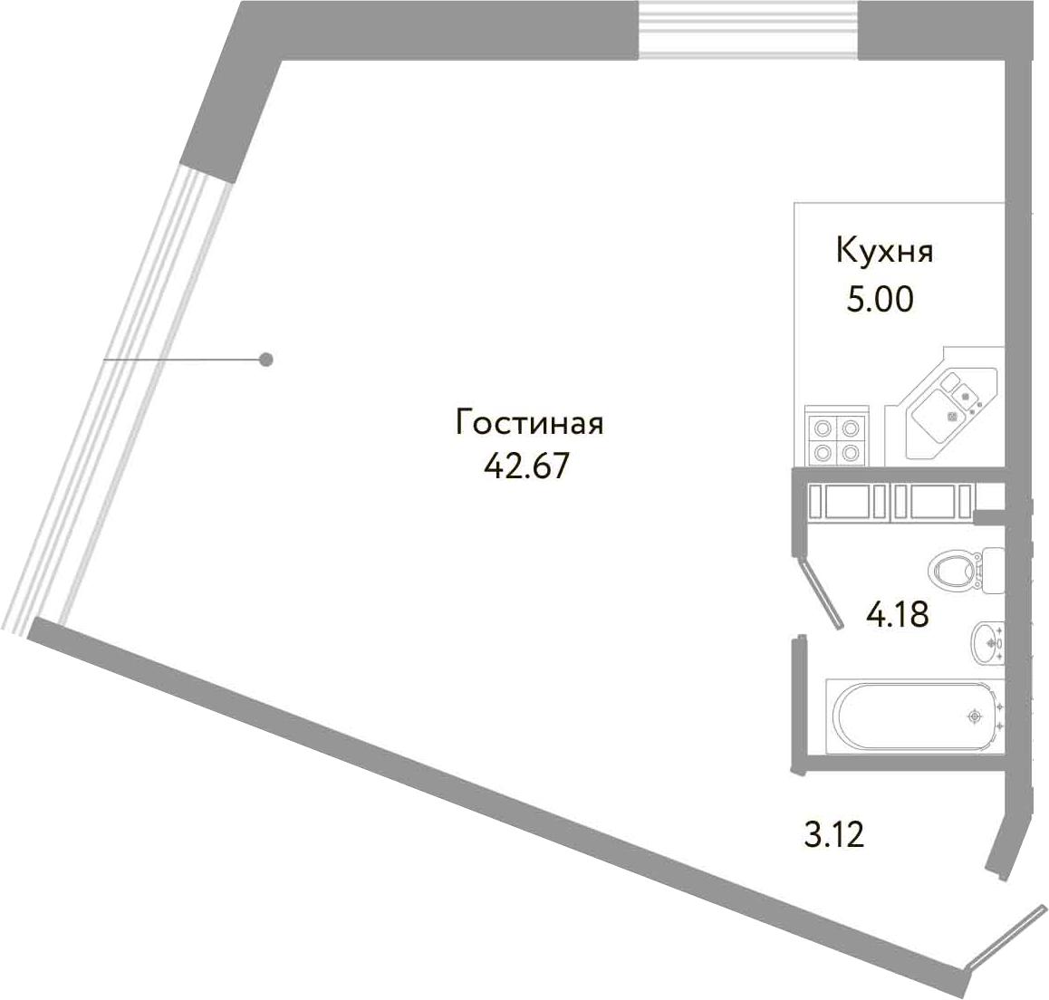 Студия, 54.97 м²