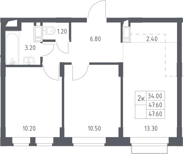 3Е-к.кв, 47.6 м²