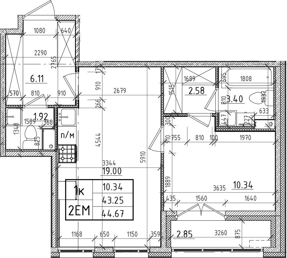 2Е-комнатная, 43.25 м²– 2