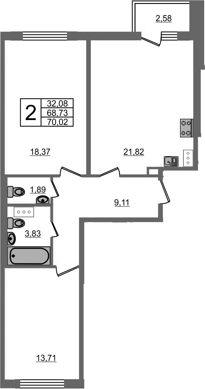 3Е-комнатная, 70.02 м²– 2