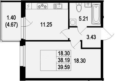 1-комнатная, 39.59 м²– 2