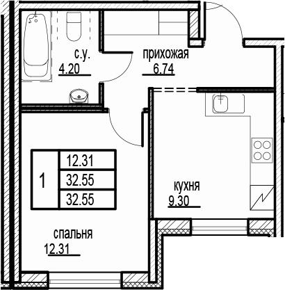 1-к.кв, 32.55 м²