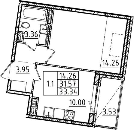 1-к.кв, 33.34 м²