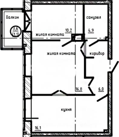 2-к.кв, 57.67 м²