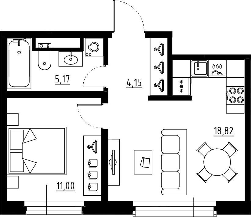 2Е-к.кв, 39.14 м², от 6 этажа