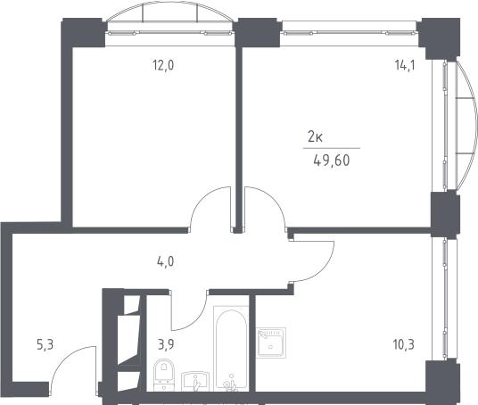 2-к.кв, 49.6 м², 8 этаж