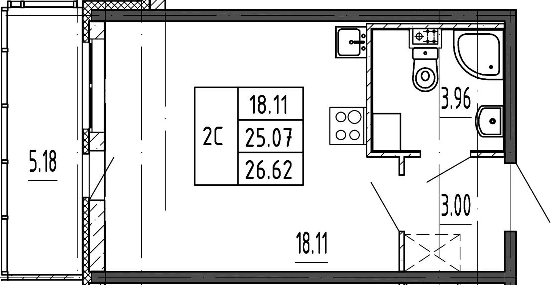 Студия, 25.07 м²– 2