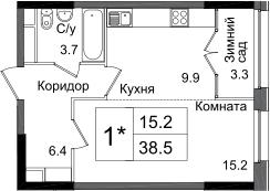 Студия, 38.5 м²– 2
