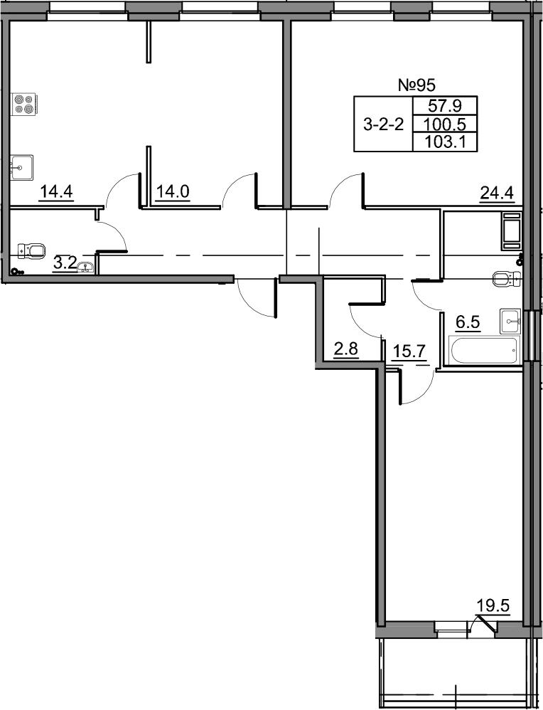 3-к.кв, 105.7 м²