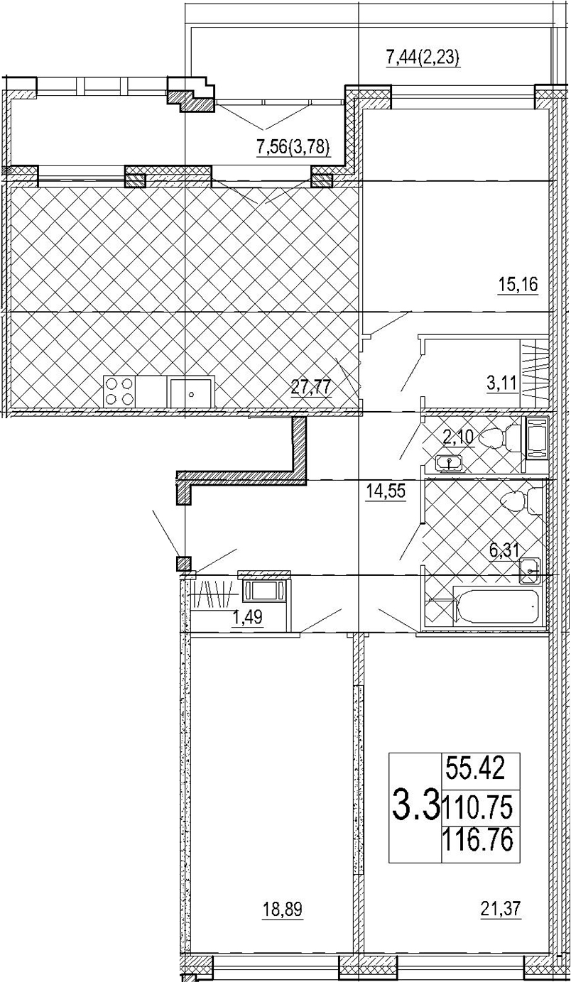 4Е-комнатная квартира, 116.76 м², 7 этаж – Планировка