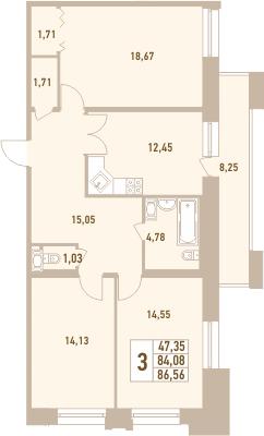 3-к.кв, 92.33 м²