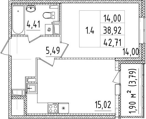 2-к.кв (евро), 42.71 м²