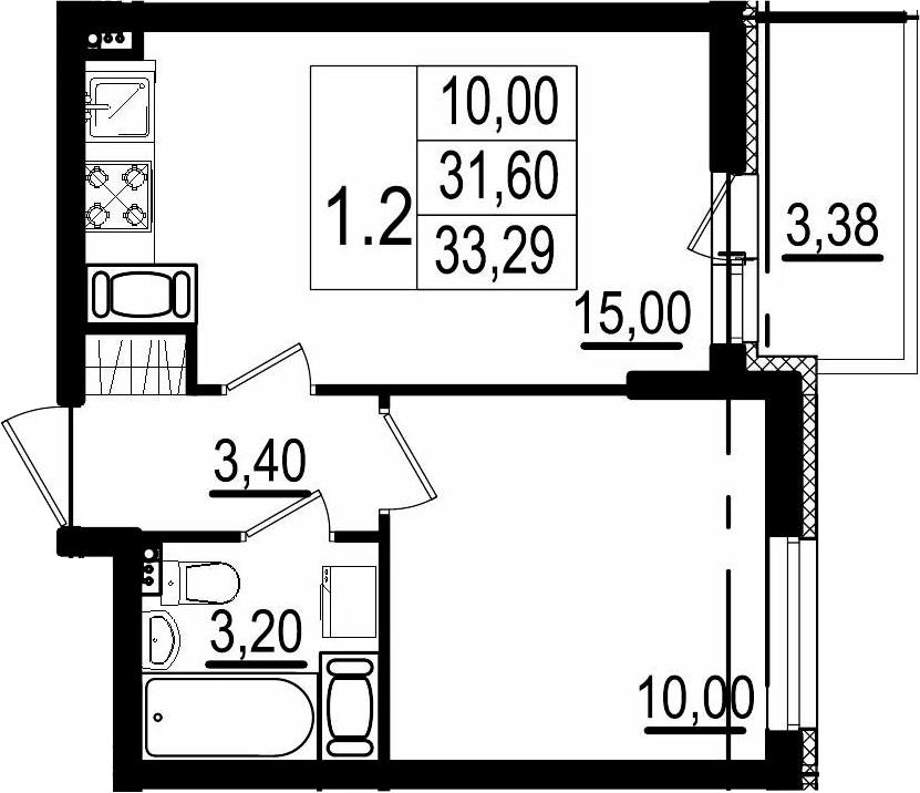 1-к.кв, 31.6 м²