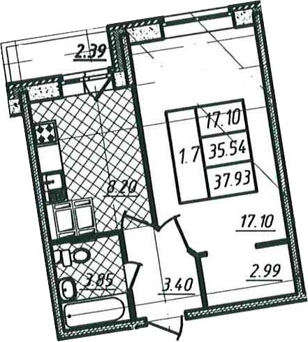 1-к.кв, 35.54 м²