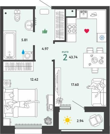 2Е-комнатная, 43.74 м²– 2