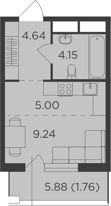 Студия, 26.55 м²