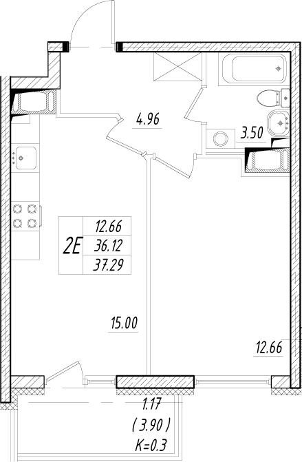 2-к.кв (евро), 40.02 м²