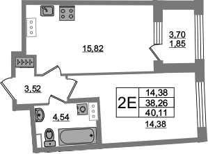 2Е-к.кв, 38.26 м², 3 этаж