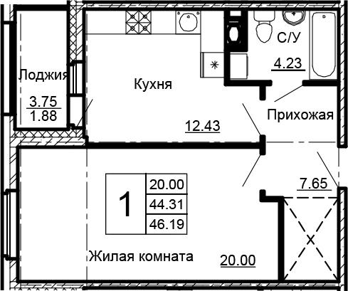 1-к.кв, 46.19 м²