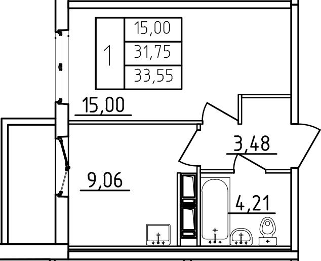 1-к.кв, 33.55 м², от 7 этажа